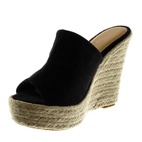 Angkorly Damen Schuhe Mule Sandalen   Slip on   Plateauschuhe   Seil   Geflochten Keilabsatz High Heel 12 cm