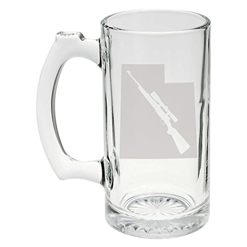 State of Utah with Scoped Hunting Style Rifle Cutout Etched Stein Glass 25oz, Mug