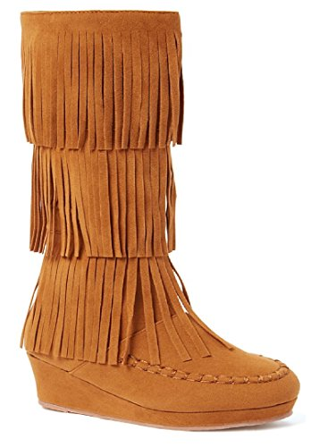 New Girls Suede Fringe Tassel Moccasin Faux Suede Fashion Children Boots Shoes (Tan- Snowball, Little Kid 3) - Moccasin Boots For Kids