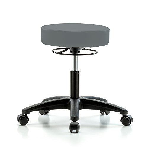 Perch Life Rolling Height Adjustable Stool For Lab Medical Office Spa Salon Kitchen Garage 20.5'' - 28'' (Stationary Caps/Cinder Fabric) by Perch Chairs & Stools