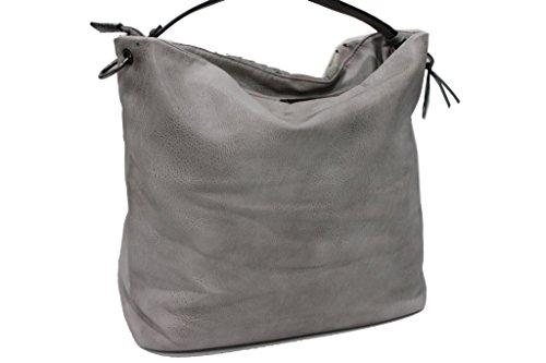 Borsa donna linea patch modello sacca a spalla Lookat y1345 grigio