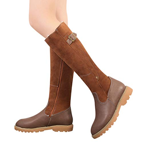 AgrinTol Women Boots Winter Platform Heels Women Square Heel Zipper Leather Boots Keep Warm Snow Boots Round Toe Shoes ()