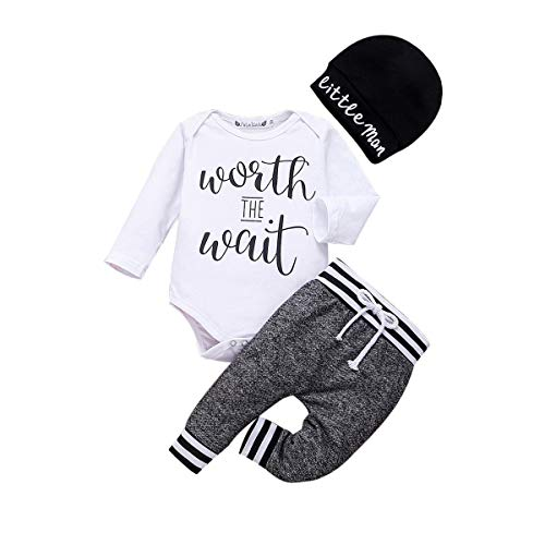 Newborn Baby Boys Cute Clothes Long Sleeve Romper Letters Bodysuit Tops + Striped Pants with Hat Fall Winter Outfits