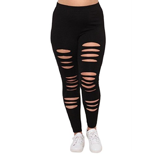 Price comparison product image ShenPr Plus Size Women Sexy Solid Elastic Burning Flower Holes Block Yoga Sport Running Pants Leggings (02Black,  L)