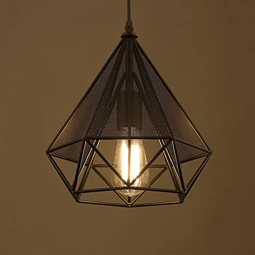 (YOBO Lighting Polygon Loft Art Deco Vintage Wire Pendant Kitchen Chandeliers, Oil Rubbed Bronze)