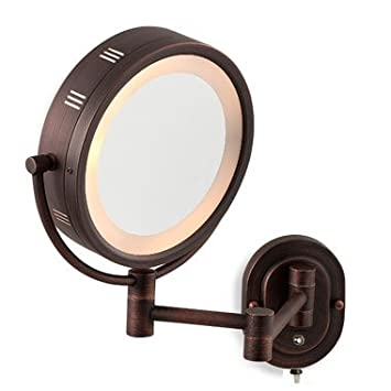 oil rubbed bronze mirror pivots finish dual sided surround light wall mount makeup oiled frame framed