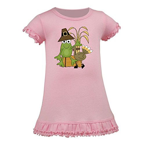 Inktastic - Pilgrim Frog Sitting on a Stack A-Line Baby Dress 6 Months Baby Pink