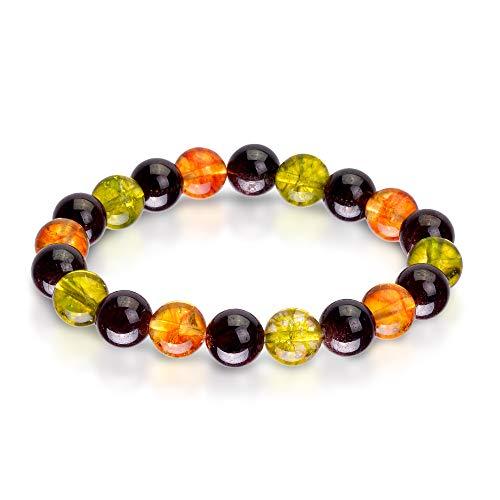 Triple Stone Ultimate Success Bracelet - Financial Success - Motivational - Inspirational Bracelets - Red Garnet- Peridot - Citrine - Natural Stone Bead Bracelet (10mm)