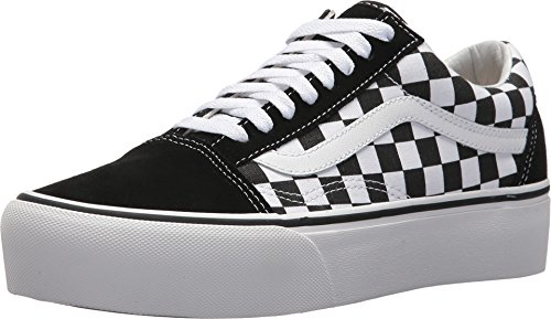 - Vans Unisex Checkerboard Old Skool Platform Suede Canvas Black White Trainers 5 W / 3.5 M US