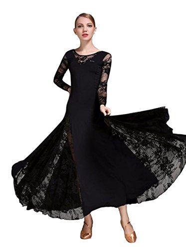 TALENT PRO Lace Modern Dance Waltz National Standard Tango Ballroom Skirt One Piece Costume Black