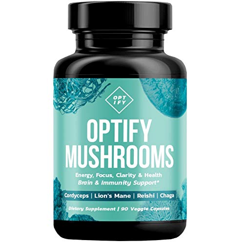 OPTIFY Mushroom Supplement - Lions Mane, Cordyceps, Reishi & Chaga - Nootropic Brain Supplement & Immune System Booster for Natural Energy, Stress Relief, Focus, Memory, Wellness - 90 Capsules ()