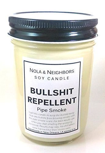 Bullshit Repellent - Pipe Smoke Candle - Herbal Tobacco Candle - Highly fragrant, Funny gift, 50+ hour burn time, Medium size, Gift wrap and messaging available