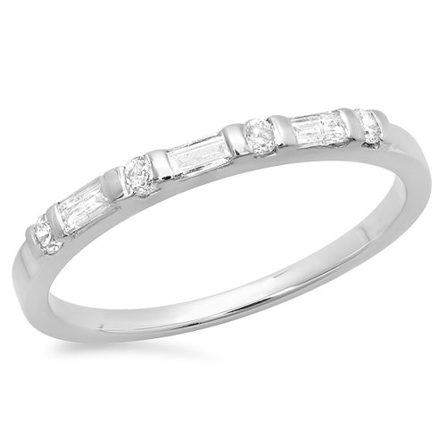 Dazzlingrock Collection 0.20 Carat (ctw) 14K Round & Baguette Diamond Ladies Wedding Ring 1/5 CT, White Gold, Size 6 Baguette Diamond Ring Setting