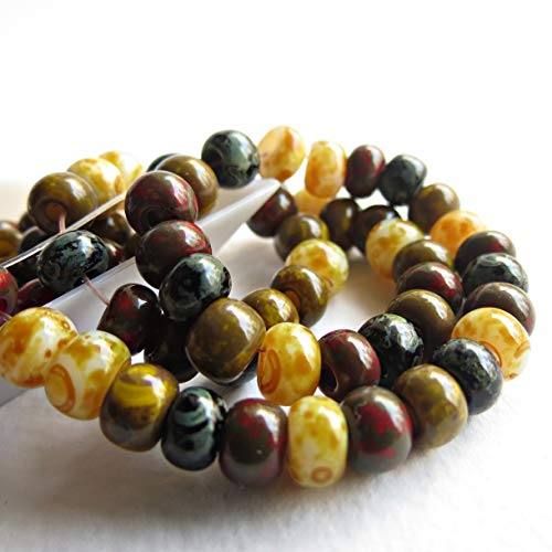 d Picasso Travertine 3/0 Czech Glass Seed Beads Biege Red Black ()