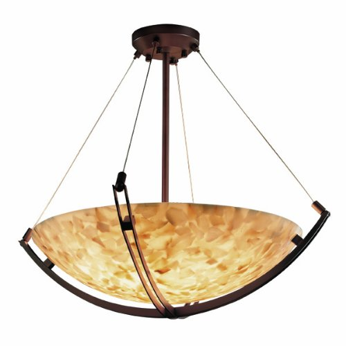 "Justice Design Group ALR-9722-35-MBLK Alabaster Rocks! Collection 24"" Pendant Bowl Celling Light Fixture with Crossbar"