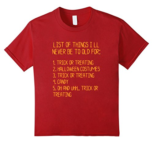 List Of Halloween Ideas (Kids Halloween Funny List Trick Or Treat Grown Up T-shirt 10 Cranberry)