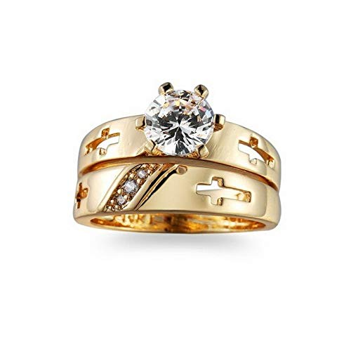 Endicot Round Hollow Cross Band Womens 14kt Yellow Gold Fil Ring Sets Size 6-10 | Model RNG - 31986 | 9 ()