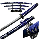 Best Sword Set With Stands - Carved Dragon Blue Samurai Sword Set of 3 Review