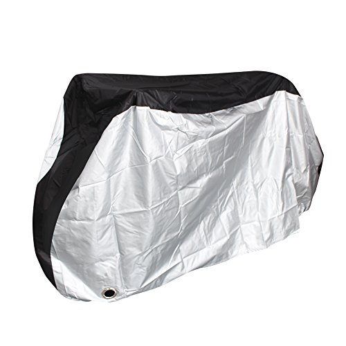 Bike Travel Cover - Puroma Bike Cover Outdoor Waterproof Bicycle Covers Rain Sun UV Dust Wind Proof with Lock Hole for Mountain Road Electric Bike, XL, Black & Silver