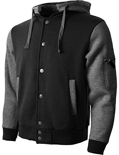 FM Mens Letterman Fleece Varsity Jackets Detachable Hood Lightweight Hoodie (fm01_Blk.Char, Small)