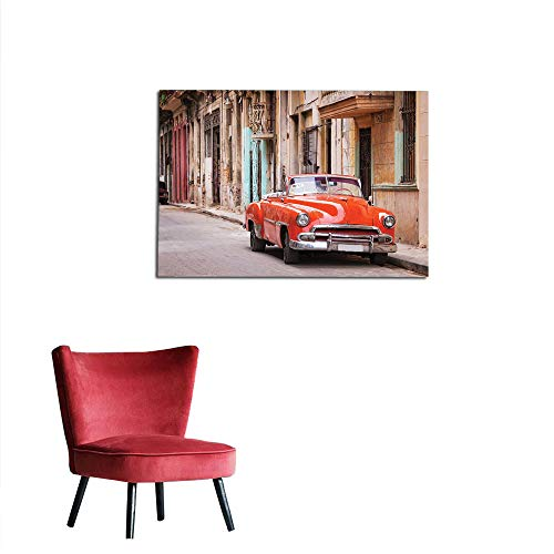 kungfu Decoration Corridor/Indoor/Living Room Cars,Classical American Car in a Street with Ancient Houses Caribbeans Havana Cuba,Orange Sand Brown Custom Poster W23.6 x L15.7