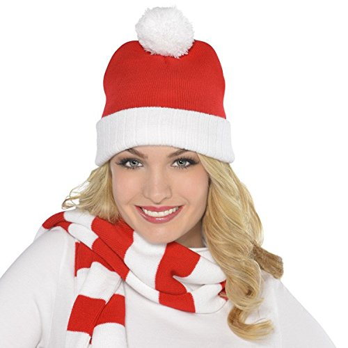 Fun-Filled Christmas and Holiday Party Knit Santa Ski Hat , Red/White, Polyester , 11