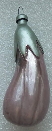 Eggplant Vintage Original USSR Soviet Union Russian Christmas Tree Glass Ornament