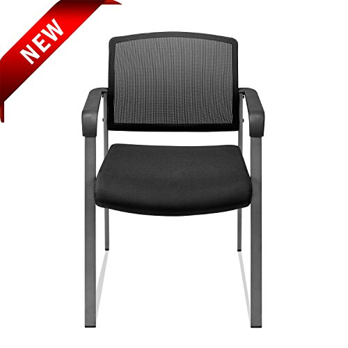 Upholstered Mesh Stacking Chairs with Arm Lumbar Support and Cushion Seat for Guest Reception Home Office (1) (Reception Chair Seat)