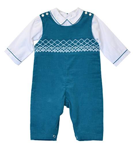 Carriage Boutique Boys 2 Piece Blue Long Romper Boys Outfit