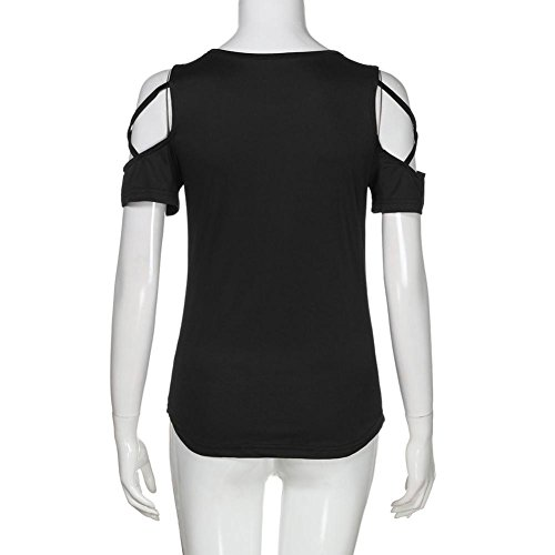 Cut Black Out Quistal Tunic T Blouse Cold Neck O 2XL Loose S Teen Shirts Girls Sleeve Tops Short Women Shoulder YxYwAXqH