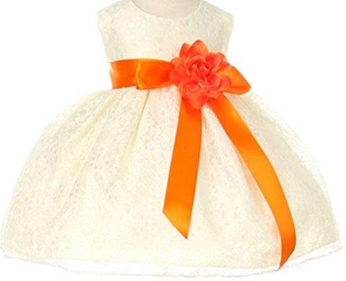 Baby Girls' Ivory Lace Dress Ribbon Sash Flowers Girls Dresses Orange Orange 18M (C11C32B)