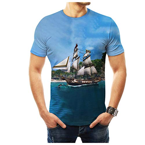- MmNote mens clothes clearance sale, Sailboat Pattern Blue Series Fitness Body Shaper Short Sleeve T-Shirt