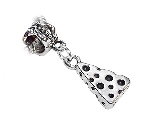 (Swiss Cheese Wedge Food Snack Dangle Charm for Silver European Bead Bracelets Crafting Key Chain Bracelet Necklace Jewelry Accessories)