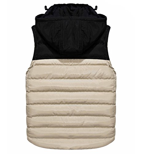 Hooded Quilted Mens Body Bodywarmer Jackets Puffa Bubble Padded Sleeveless Vest Gilet Bodywarmers Thicken Khaki Slim Gilets Warm Fit Slim Jacket With Puffer Hood Warmer Winter Removable Fit dTrrIqx