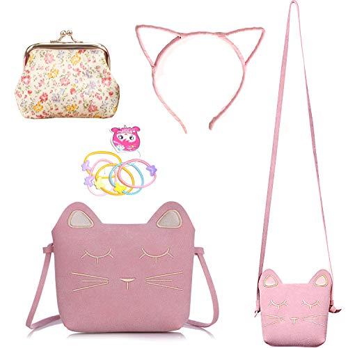 Delphinus Cute Cat Crossbody Bag, Little Girls Purses Cute Cat Bag with 1 Mini Coin Purse Cat Headband and Elastic Hair Ties, 4 Pack