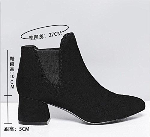 manches femmes Bottes Chaussures et Khskx premiers noir Talon décontracté de new courtes Ceinture librement coréen Bottes femelle 0P7v0