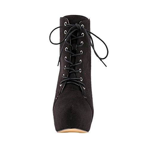 up Lace Rounded Black Closure with Fleece toe Fereshte Fashion Knight Womens Boots x8gqUwqAO