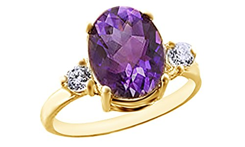 Jewel Zone US Simulated Alexandrite & White Sapphire CZ Solitaire Ring in 925 Sterling Silver (2.02 Cttw)