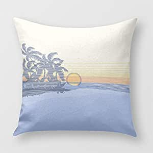 Big Sunset Hawaiian Reversible Square Pillow Cover for Sofa or Bedrooms