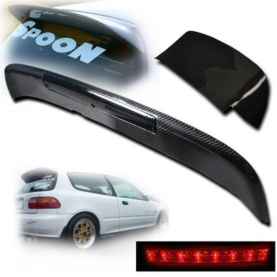 Remix Custom For 1992-1995 Honda Civic EG Hatchback Carbon Fiber Black LED Spoon Style Spoiler