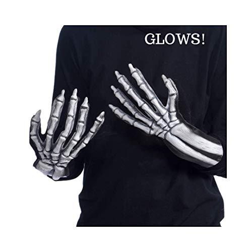 Zagone Studios UV Glowing Ghost Skeleton Bone Gloves, White Skeleton Hands, Glow Blue ()