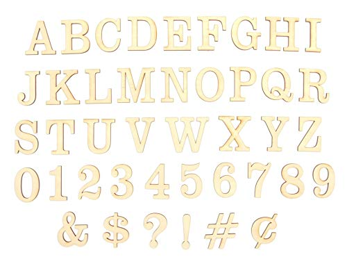 DAVE'S SIGNS 47 Unfinished Wood Layout Letters, Numbers & Symbols for Arts, Crafts or DIY (1.5in - 6in Sizes, A-Z Alphabet, 0 to 9) - Premium Baltic Birch Plywood, Ready to Paint (Clarendon, 1.5