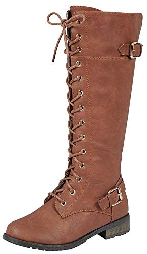 (Forever Link Mango-27 Women's Strappy Lace-Up Knee High Combat Stacked Heel Boot,Tan,10)