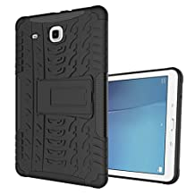 "MOONCASE Galaxy Tab E 9.6-inch Case Built-in Kickstand Hybrid Armor Case Detachable 2 in 1 Shockproof Tough Rugged Dual-Layer Case Cover for Samsung Galaxy Tab E 9.6"" Black"