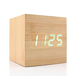 Cube Wood LED Alarm Clock - Time Temperature Date Display - Voice and Touch Activated (Yellow)