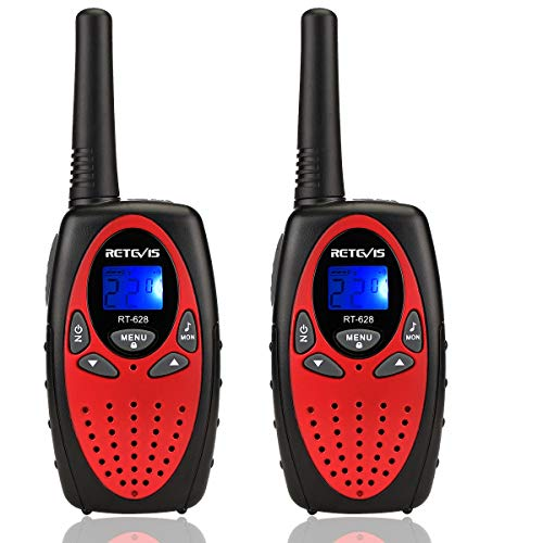 Retevis RT628 Kids Walkie Talkies 22 Channel Rechargeable FRS 2 Way Radios Toy for Kids (Red,1 Pair)