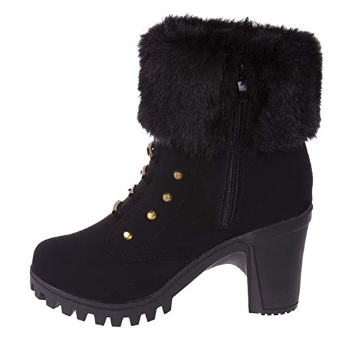 UONQD Women's Winter Plush Boots Martin Square Heels Platform Boots BK/36(US:6,Black)