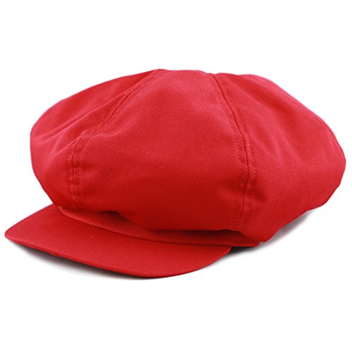 THE HAT DEPOT 100% Cotton Plain Blank 6 Panel Newsboy Gatsby Apple Cabbie Cap Hat Made in USA (Red) (Red Newsboy Hats)