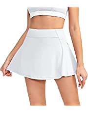 ANHU Womens Girls Tennis Skirt Golf Skirts Yoga Workout Athletic Sport Skirts with Pockets Inner Shorts