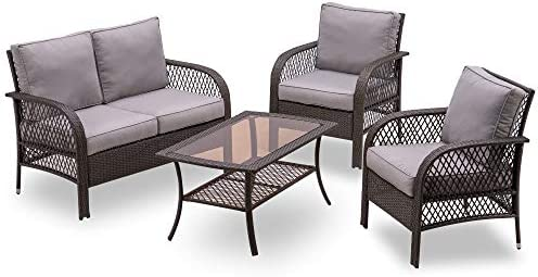 MCombo Wicker Patio Furniture Sofa Set,4 Pieces Outdoor Wicker Chair Cushioned Loveseat